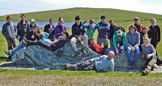 Figure 14. Group photo on Unst-Fetlar ophiolite Geo-wall, Fetlar.