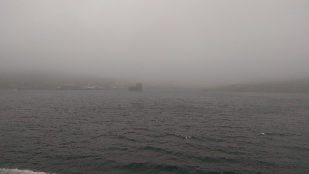 Arrival into Castlebay in the fog.