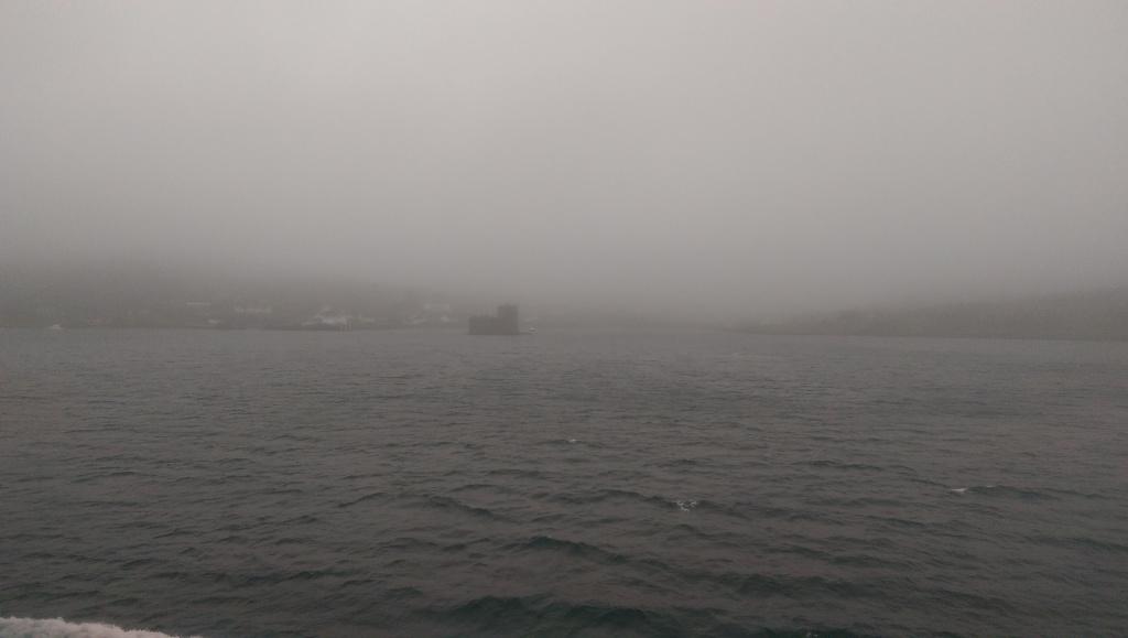 Arrival into Castlebay in the fog.